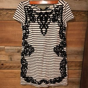 Anthropologie Black & White Stripe Tunic Dress XS
